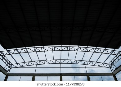 Structure of factory rooftop, under construction site.