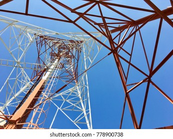 Structure of metal pole telecommunication tower.