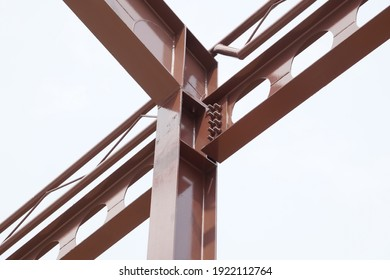 Structure steel beam, metal pillar installed for support preparing roof construction. Concept of structure steel, roofing, roof construction, girder, mounting, construction, skeleton. - Shutterstock ID 1922112764