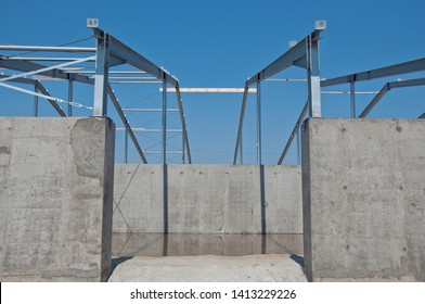 Structure of steel for building construction. The steel structure of the new building for further construction. Metal frame for the installation of insulation panels.