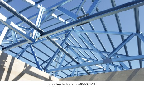 Structure of steel roof frame for construction.In Prefabricated House system.
