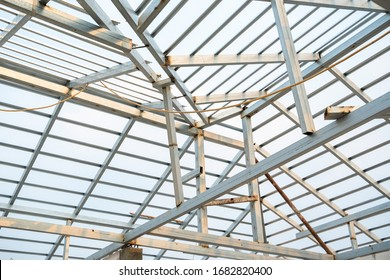 Structure of steel roof frame for house background.