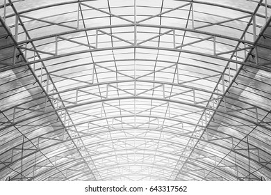 Structure of steel truss with plastic sheet roofs, for building construction, black and white style