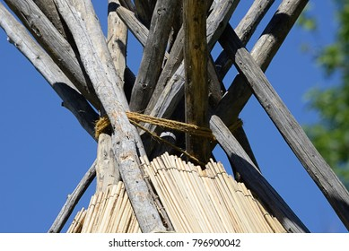 Structure of traditional lodging of North American First Peoples (Native Americans/American Indians) from  Inter-mountain regions. Outside view of tule mat teepee top.