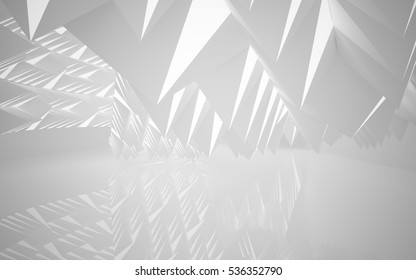 The structure of the white pyramids. Architectural background of the future. 3D illustration and rendering