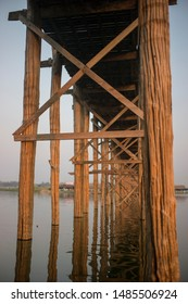 The structure of wooden U-Bein bridge in sunset in Mandalay,