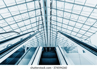 Structured glass roof and escalators leading to the hall. Colored in blue-gray Technical