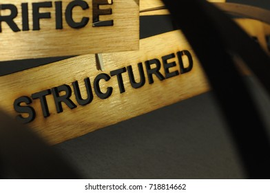 STRUCTURED on a wooden sign, photograph Aspirations word