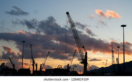 Structures against the light of salerno at sunset