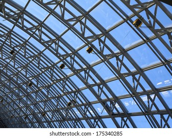 Structures of skylight glass roof window and blue sky