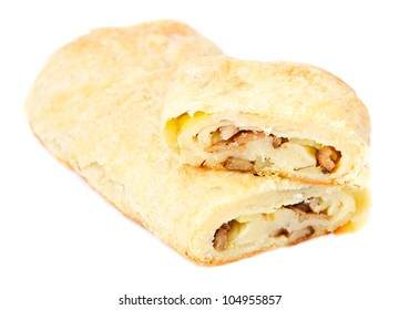 Strudel filling with mushrooms and potatoes isolated on the white background. Selective focus