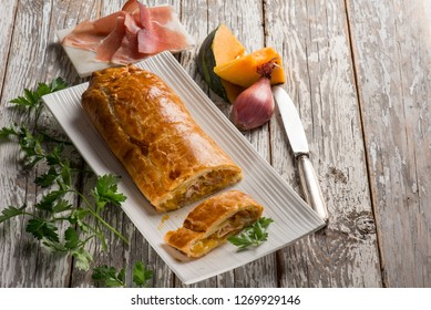 strudel puff pastry with parma ham and pumkin
