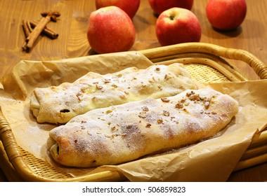 Strudel. Sweet baked apple dessert.