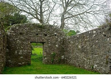 STRUELL WELLS, NORTHERN IRELAND - APRIL 21: Monastery ruins 21 April, 2017 at Struell Wells. Struell Wells once had a huge monastery.