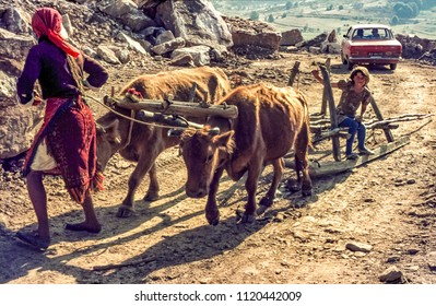 Struga, Macedonia/Yugoslavia - CIRCA 1974 : Vintage photograph of poor woman using a macadam slay as transport.  They did not have any means to purchase wheels to make or buy a cart.