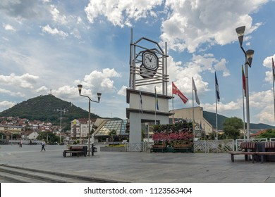 STRUMICA, MACEDONIA - JUNE 21, 2018: Clock Tower at the central square of town of Strumica, Republic of Macedonia