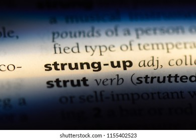 strung up word in a dictionary. strung up concept.