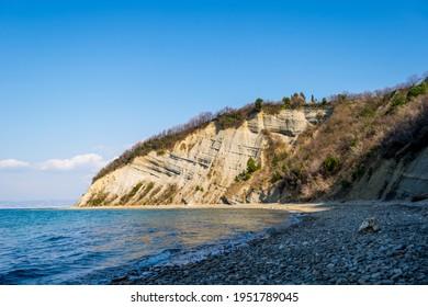 Strunjan cliff on Slovenian Adriatic Coast, Adriatic Sea - Shutterstock ID 1951789045