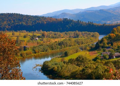 Stryi River in the Carpathians in the autumn.
