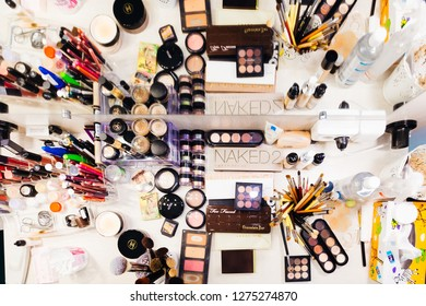 Stryi, Ukraine - 16 July 2017 - Top view on the cosmetics table with cosmetic sets and accessories