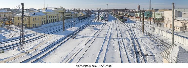 Stryi, Ukraine - February10, 2017: Stryi railway station. Commuter train waiting passengers.