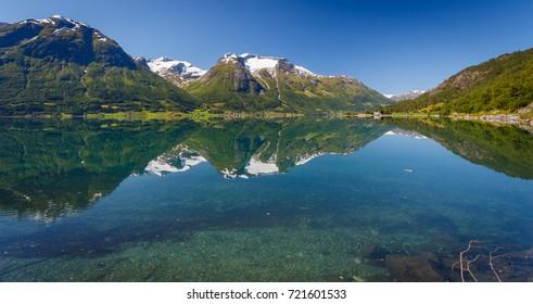 Stryn Fjords in Norway Reflection In Oppstrynsvatn lake
