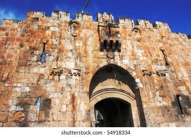 St.Stephen's gate or Lion's gate. Jerusalem, Israel.