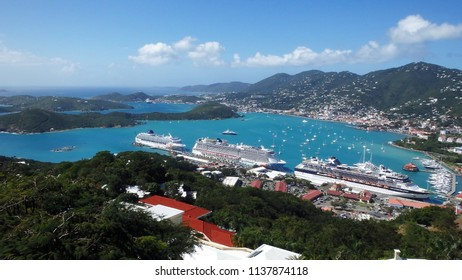 St.Thomas / USA - 09 10 2015: Three cruise ships docke din port of St.Thomas, view from mountain top
