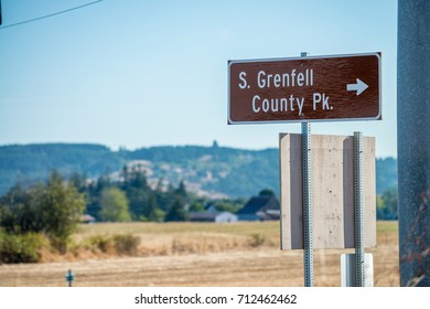 Stuart Grenfell County Park sign near Willamina and Sheridan, OR.