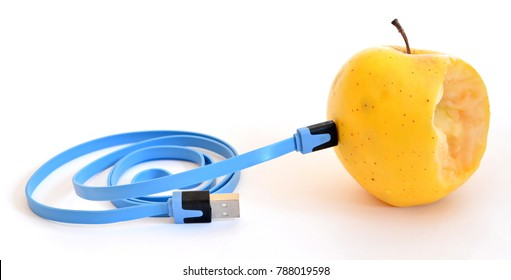 Stub bitten bright yellow apple connect blue usb charge cable. Isolated. White background