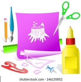 Stub. Paper template. Raster illustration.