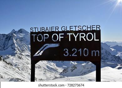 STUBAI, TIROL, AUSTRIA - DECEMBER 20: Altitude board on summit of winter sports area Stubaier glacier in Austrian Alps, on December 20, 2015 in Stubai, Austria