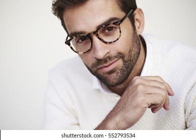 Stubble man in spectacles, portrait