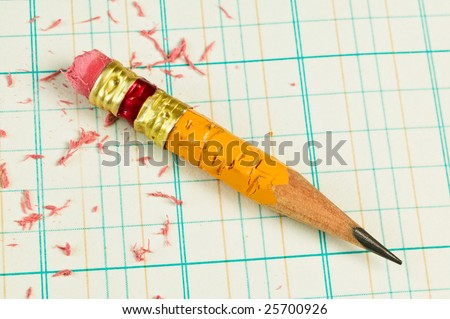 stubby pencil on accounting ledger paper stock photo edit now