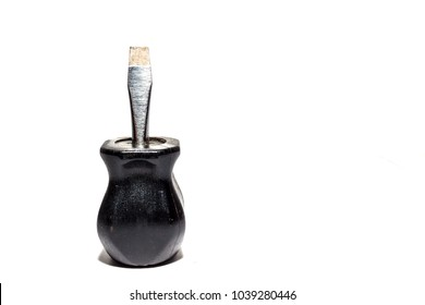 Stubby or small flat head screwdriver, standar screwdriver with black handle  on white background.