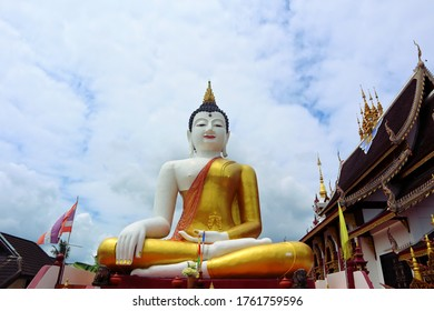 Stucco Buddha statue. Temple in Chiang Mai, Thailand. religious symbol. Buddhism. golden Buddha statue. Buddha in Wat Rajamontean Temple. Asia. beautiful temple.
