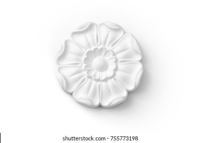 stucco moulding flower from gypsum, whitre wall