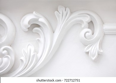 stucco moulding from gypsum, whitre wall