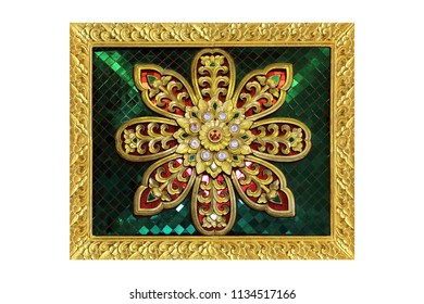 stucco pattern flower decorative isolated on the white background