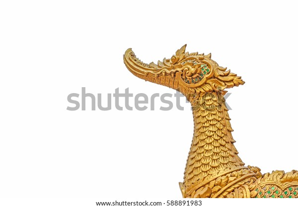 Stucco swan on white background