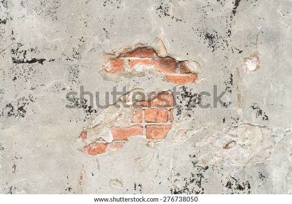 Stucco Wall Over Brick Black Grunge Stock Photo (Edit Now
