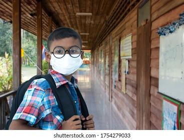 Studen boy ,Come back to school,covid 19 ,Coronavirus and school