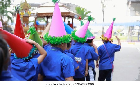 Studen wearing prop hat to participate Christmas and New year party at their school