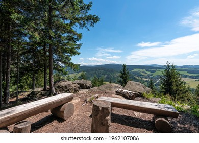 Studenecke skaly, rocks in Orlicke mountains with camping place, resting place and amazing view to landscape Eastern Bohemia, Czech Republic - Shutterstock ID 1962107086