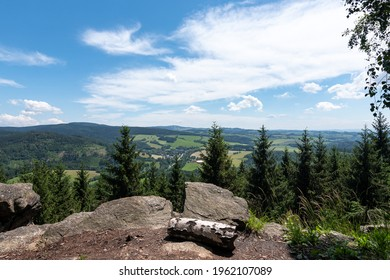 Studenecke skaly, rocks in Orlicke mountains with camping place, resting place and amazing view to landscape Eastern Bohemia, Czech Republic - Shutterstock ID 1962107089