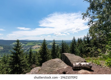 Studenecke skaly, rocks in Orlicke mountains with camping place, resting place and amazing view to landscape Eastern Bohemia, Czech Republic - Shutterstock ID 1962107092