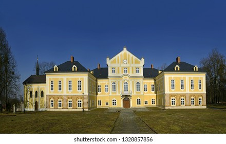 STUDENKA, CZECH REPUBLIC - FEBRUARY 28, 2019: Originally Baroque chateau Nova Horka, formerly Neuhüble, is situated near the town of Studenka, Nova Horka in Moravia. Today there is a museum