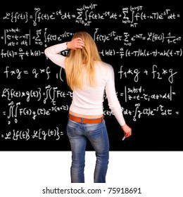 Student being examinated from math