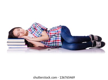 Student with books isolated on white