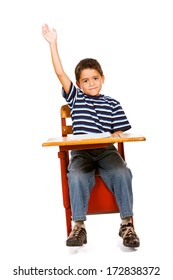 Student: Boy With Hand In The Air